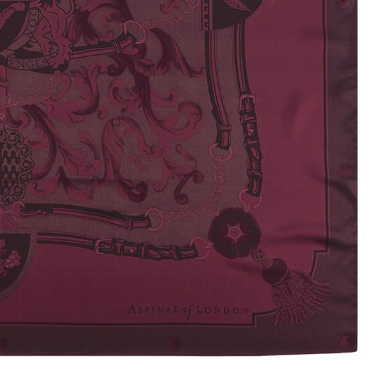 Aspinal Signature Shield Silk Scarf in Burgundy from Aspinal of London