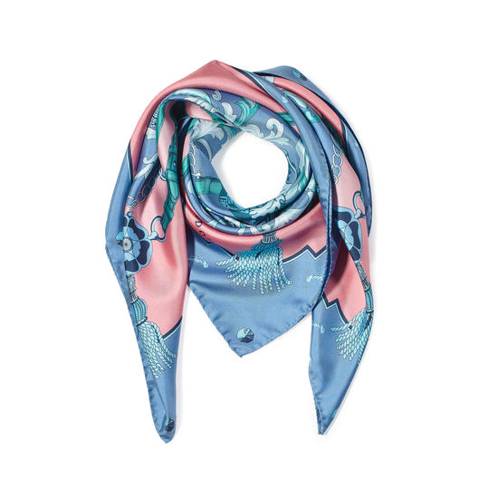 Aspinal Signature Shield Silk Scarf in Pink from Aspinal of London