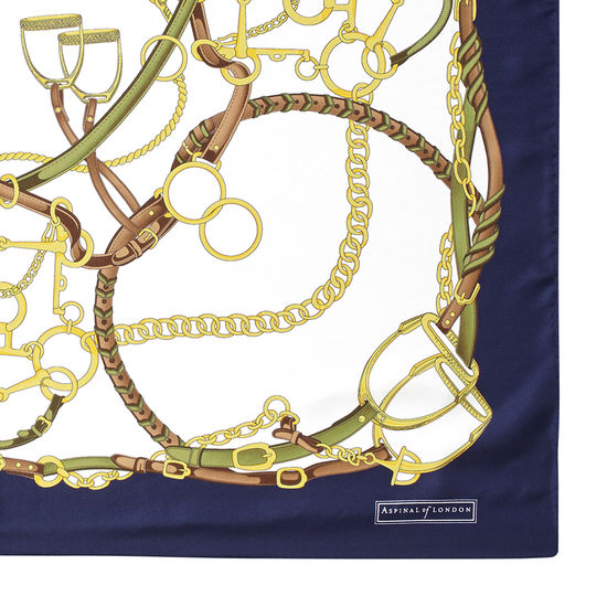 Horseshoe Silk Scarf in Midnight Blue from Aspinal of London