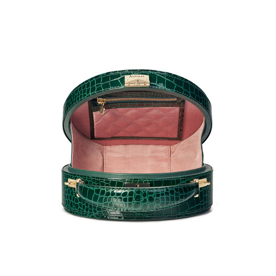 Hat Box in Evergreen Patent Croc from Aspinal of London