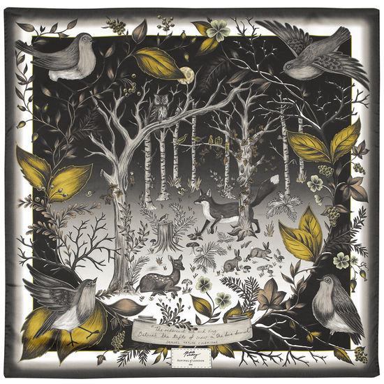 Robin Silk Scarf in Black & Gold from Aspinal of London