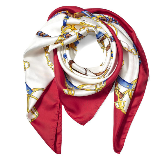 Horseshoe Silk Scarf in Red from Aspinal of London