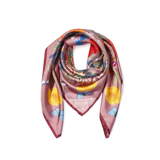 Botanical 'A' Silk Scarf in Pink from Aspinal of London