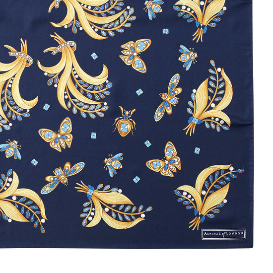 Summer Field Silk Scarf in Midnight Blue from Aspinal of London