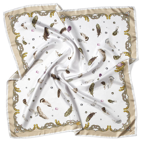 Aspinal Feather Silk Scarf in Beige & Cream from Aspinal of London