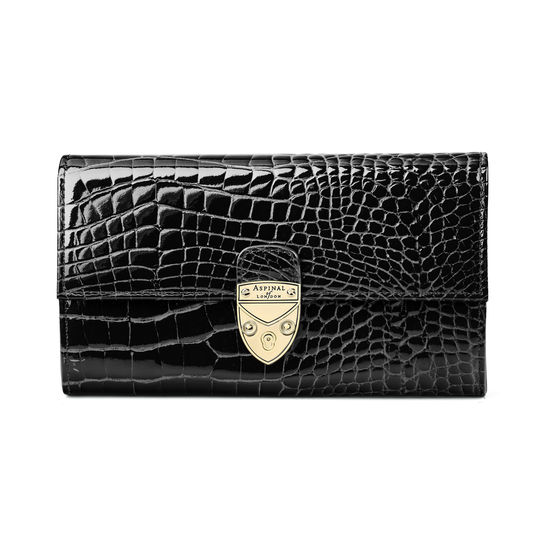 Mayfair Purse in Black Patent Croc from Aspinal of London