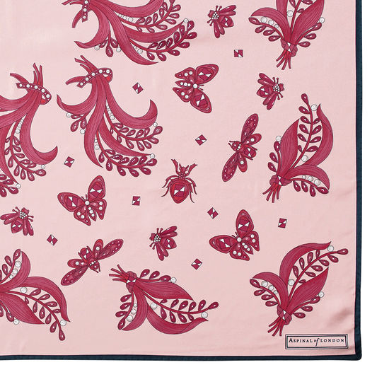 Summer Field Silk Scarf in Blush from Aspinal of London