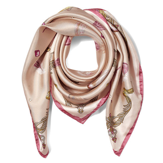 Aspinal Feather Silk Scarf in Nude from Aspinal of London