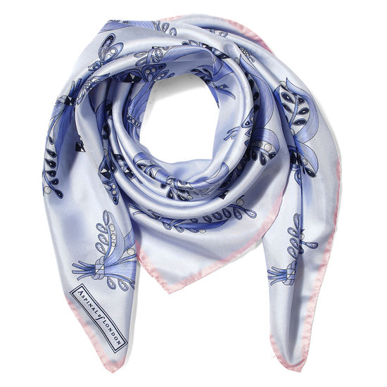 Summer Field Silk Scarf in Pale Blue from Aspinal of London