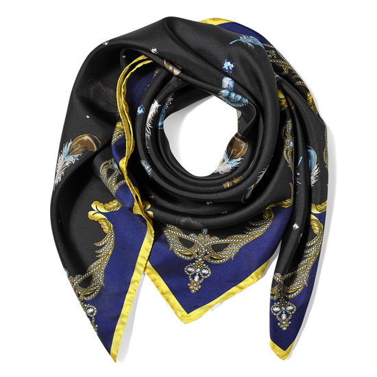 Aspinal Feather Silk Scarf in Blue & Black from Aspinal of London