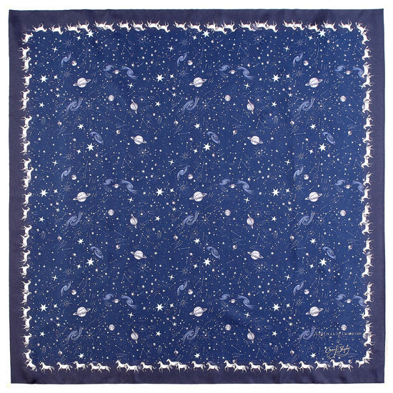 Pegasus Constellation Silk Scarf in Midnight Blue (35.5