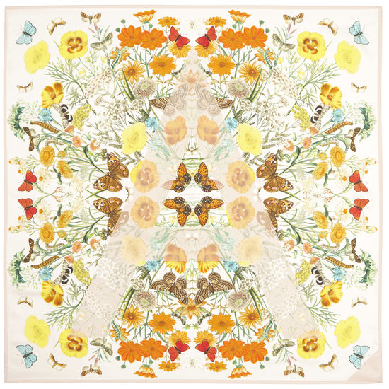 Botanical 'A' Silk Scarf in Ivory & Deer from Aspinal of London