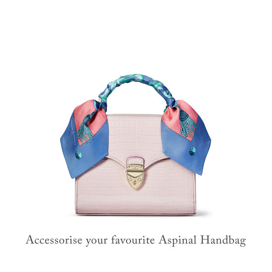 Signature Shield Silk Neck Bow Scarf in Pink from Aspinal of London