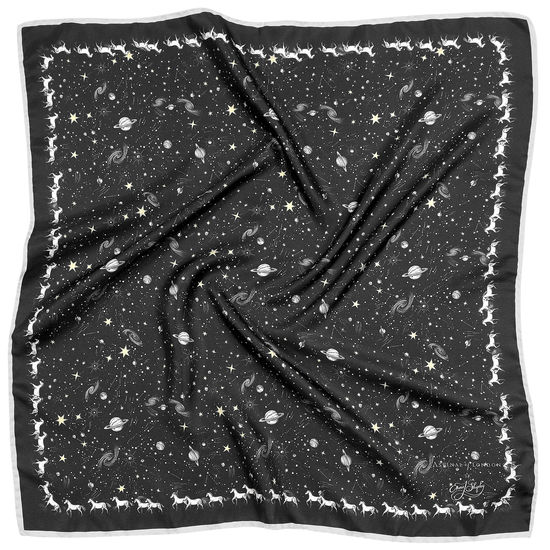Pegasus Constellation Silk Scarf in Black (35.5