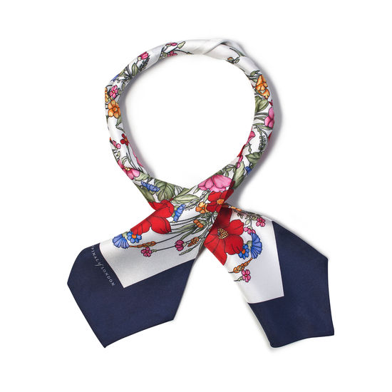 Poppy Design Silk Neck Bow Scarf in Red & Navy from Aspinal of London