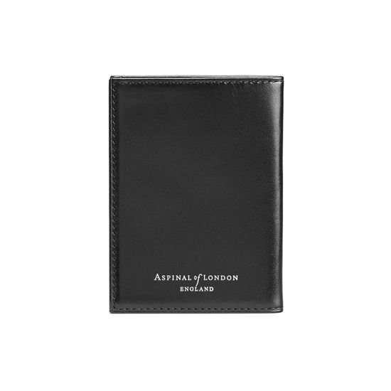 Double Fold Credit Card Case in Smooth Black with Grey Contrast Stitching from Aspinal of London