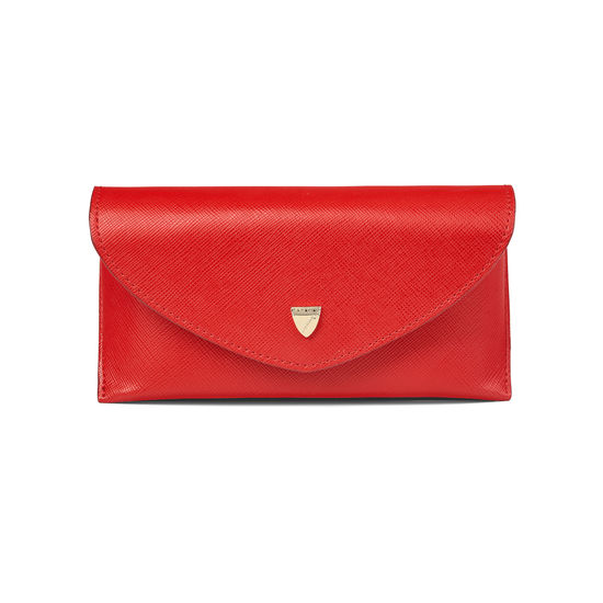 Leather Sunglasses Case in Scarlet Saffiano from Aspinal of London