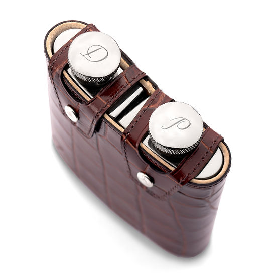 Double 6oz Leather Hip Flask in Smooth Burgundy & Black Suede from Aspinal of London