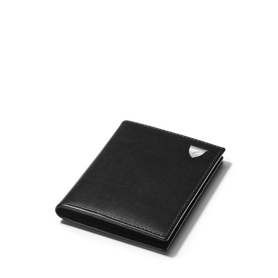 Double Fold Credit Card Holder in Smooth Black with Grey Land Snake from Aspinal of London