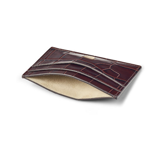 Slim Credit Card Holder in Deep Shine Amazon Brown Croc from Aspinal of London