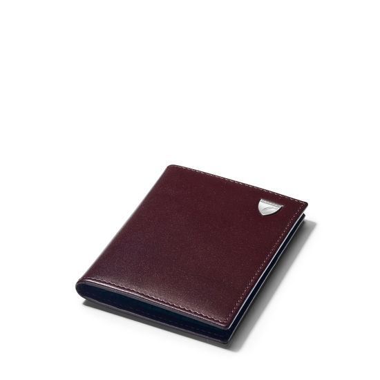 Double Fold Credit Card Holder in Smooth Chocolate with Green Land Snake from Aspinal of London