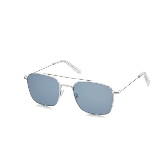Aerodrome Aviator Sunglasses in Gunmetal Silver with Dark Brown Pebble Case from Aspinal of London