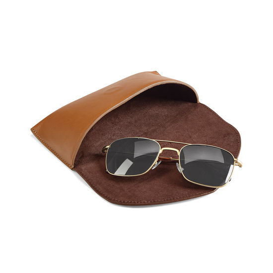 Aerodrome Aviator Sunglasses in Brushed Gold with Smooth Tan Case from Aspinal of London
