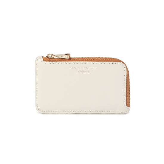 Zipped Coin & Card Holder in Smooth Ivory, Mustard & Soft Taupe from Aspinal of London
