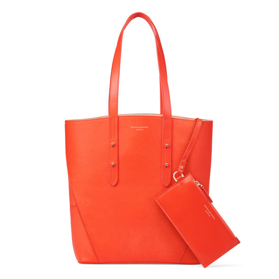 Essential Tote in Orange Small Grain Pebble from Aspinal of London