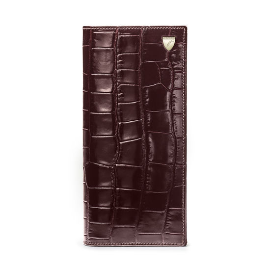 10 Card Slim Coat Wallet in Deep Shine Amazon Brown Croc from Aspinal of London