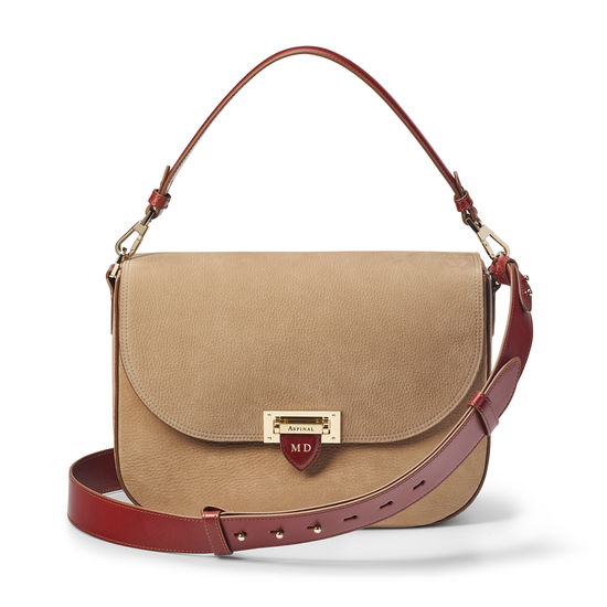 Slouchy Saddle Bag in Fog Nubuck & Smooth Tan from Aspinal of London