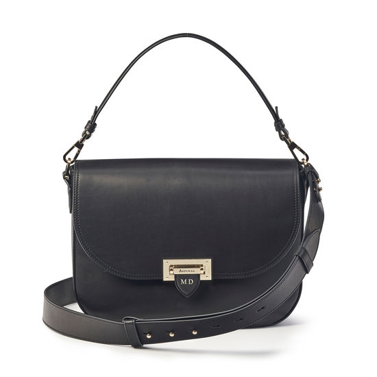 Slouchy Saddle Bag in Smooth Black from Aspinal of London