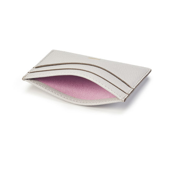 Slim Credit Card Holder in Light Grey Saffiano from Aspinal of London