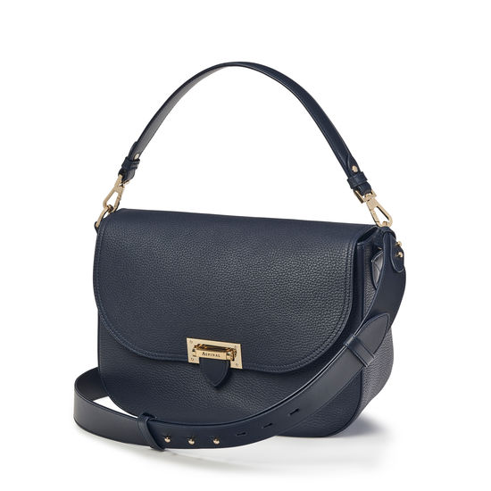 Slouchy Saddle Bag in Navy Pebble from Aspinal of London