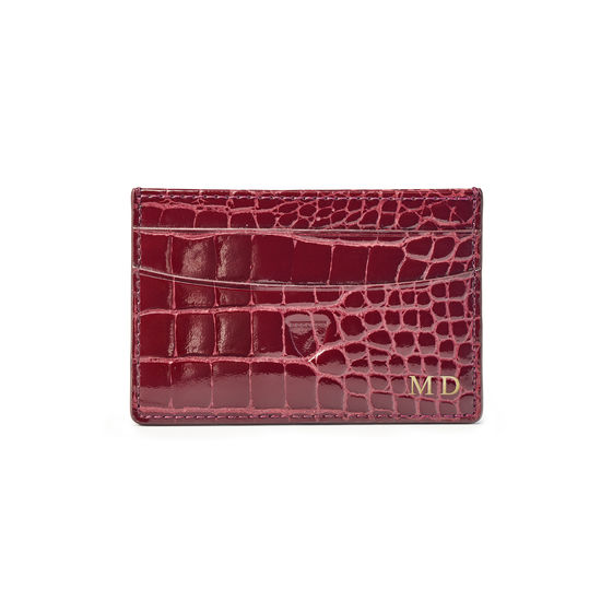 Slim Credit Card Holder in Bordeaux Patent Croc from Aspinal of London