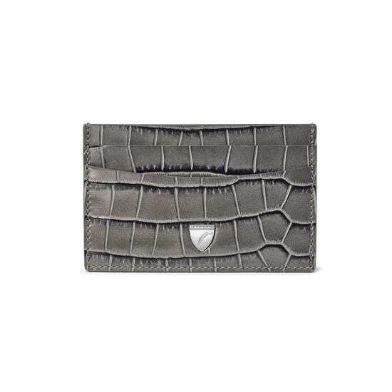 Slim Credit Card Holder in Deep Shine Grey Croc from Aspinal of London