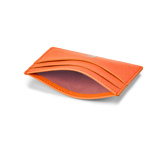 Slim Credit Card Holder in Bright Orange Saffiano from Aspinal of London