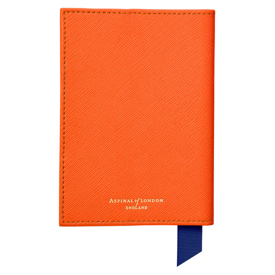 Passport Cover in Bright Orange Saffiano from Aspinal of London