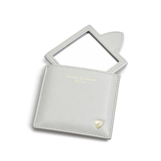 Compact Mirror in Light Grey Saffiano from Aspinal of London