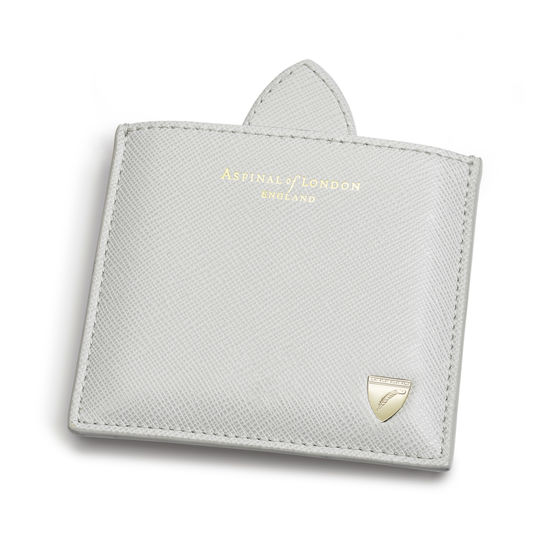 Compact Mirror In Light Grey Saffiano Aspinal Of London