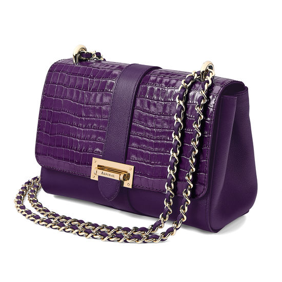 Lottie Bag in Deep Shine Amethyst Croc from Aspinal of London