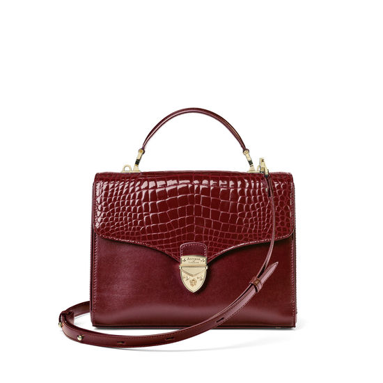 Mayfair Bag in Bordeaux Patent Croc & Smooth Bordeaux from Aspinal of London