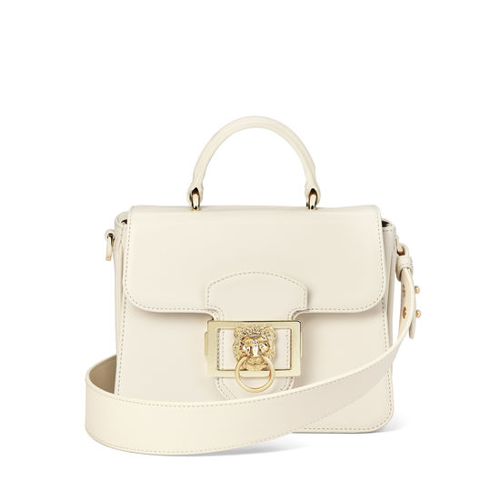 Small Lion Lansdowne Bag in Smooth Ivory from Aspinal of London
