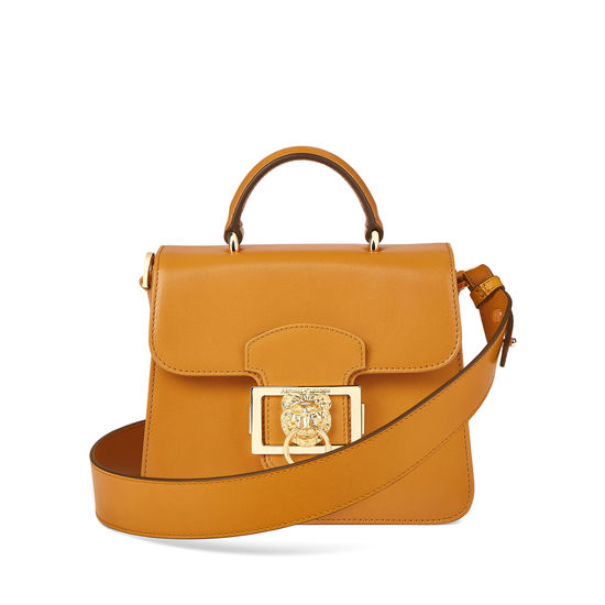 Small Lion Lansdowne Bag in Smooth Mustard from Aspinal of London