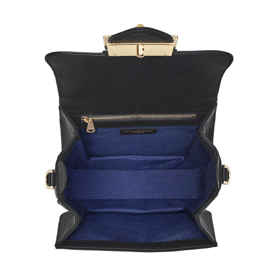 Small Lion Lansdowne Bag in Smooth Black from Aspinal of London