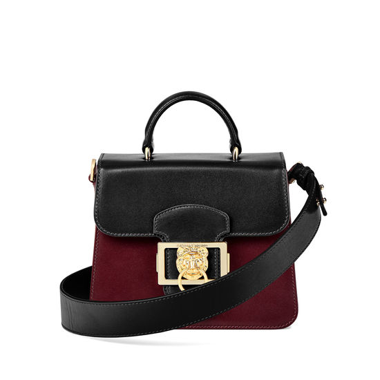 Small Lion Lansdowne Bag in Smooth Black & Smooth Claret from Aspinal of London