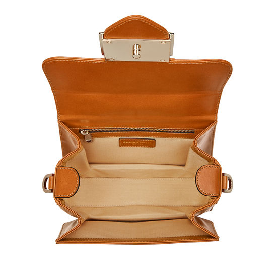 Small Lion Lansdowne Bag in Smooth Tan from Aspinal of London