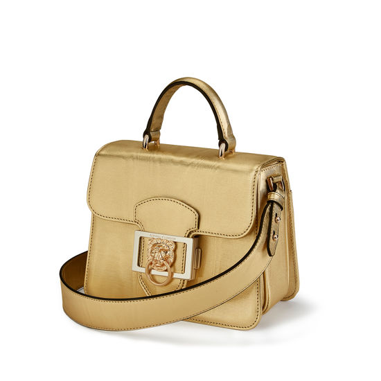 Small Lion Lansdowne Bag in Gold Moire Print from Aspinal of London