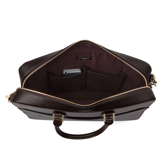 Small Mount Street Bag in Brown Saffiano from Aspinal of London