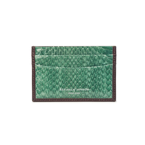 Slim Credit Card Holder in Smooth Chocolate & Green Land Snake from Aspinal of London
